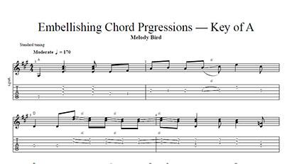 Embellishing Chord Progressions - Key of A - Tab