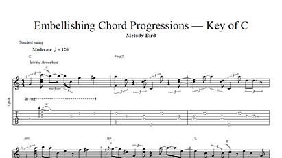 Embellishing Chord Progressions - Key of C - Tab